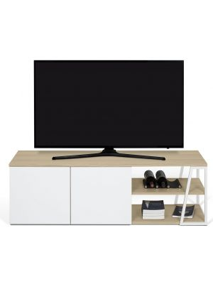 TemaHome Albi TV-Meubel 2-Deurs - B145xD45xH45 - Wit Metaal - Eiken