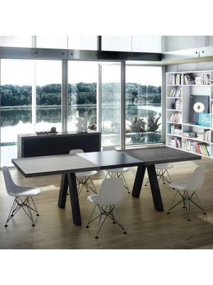 TemaHome Uitschuifbare Tafel Apex 200/250x100x76 - Grijs (beton look) blad