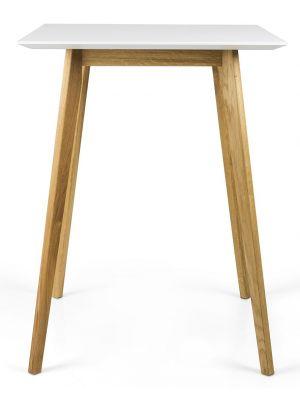 Tenzo Bess Bartafel - L80 x B80 x H105 cm - Wit Tafelblad - Eiken Houten Poten