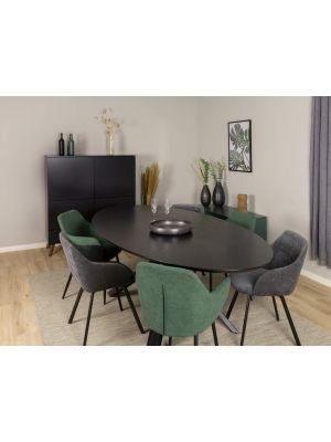 Tenzo SALE - Cox Ovale Tafel L240 x B120 x H75 - Zwart Tafelblad Essenhout - Metalen Onderstel