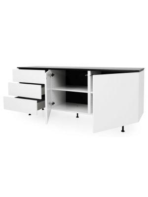 Tenzo Dressoir Plain 2-Deurs/3-Laden - B180 x D45 x H76 cm - Wit met Zwart