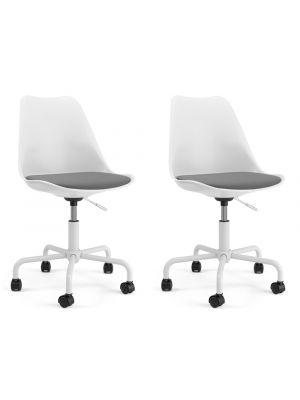 Tenzo Gina Office Bureaustoel - Set van 2 - Witte Kuip - Wit onderstel met Wielen