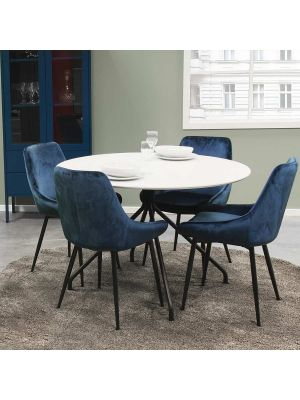 Tenzo Lex Stoel - Set van 2 - Donkerblauw Fluweel - Zwarte Metalen Poten