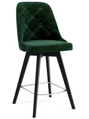 Tenzo Lux Barkruk - Set van 2 - Zithoogte 65 cm - Groen Fluweel - Zwarte Houten Poten
