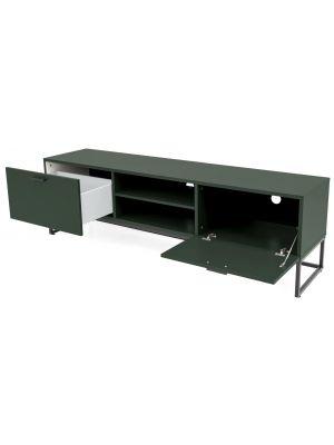 Tenzo Mello Tv-Meubel 1-Deur/1-Klepdeur - B176 x D43 x H54 cm - Groen - Zwart Metalen Onderstel
