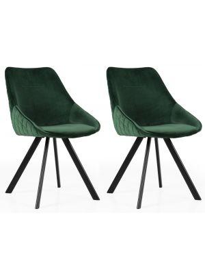 Tenzo Ritz Velvet Stoel - Set van 2 - Groen Fluweel - Zwarte Metalen Poten