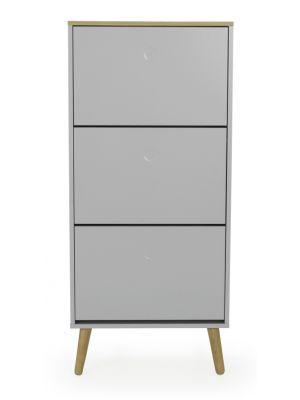 Tenzo Schoenenkast Dot 3-Vakken - 57.5x24x128 - Grijs - Eiken Poten