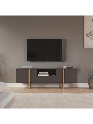 Tenzo Birka TV-Meubel 2-Deurs/1-Lade - B177 x D43 x H59 cm - Antracietgrijs met Eiken