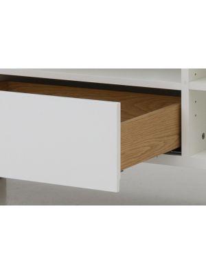 Tenzo Birka TV-Meubel 2-Deurs/1-Lade - B177 x D43 x H59 cm - Wit met Eiken
