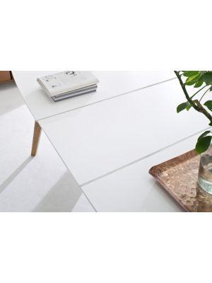 Tenzo Bess Uitschuifbare Eettafel - L160/205 x B95 x H75 cm - Wit Tafelblad - Eiken Poten