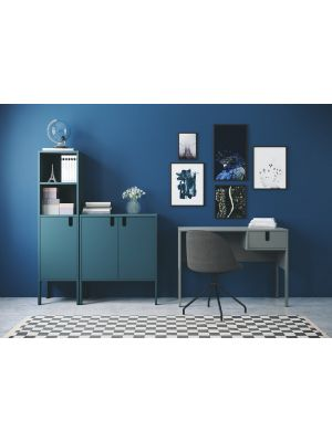 Tenzo UNO Bureau - L105 x B50 x H75 cm - 1-Lade - Petrol Blauw