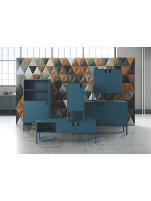 Tenzo UNO TV-meubel 2-Deurs - 1-Vak - 137x40x50 - Petrol Blauw