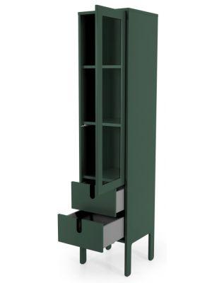 Tenzo UNO Vitrinekast - 1-Deur/2-laden - 40x40x178 - Bosgroen