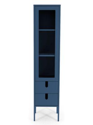 Tenzo UNO Vitrinekast - 1-Deur/2-laden - 40x40x178 - Petrol Blauw