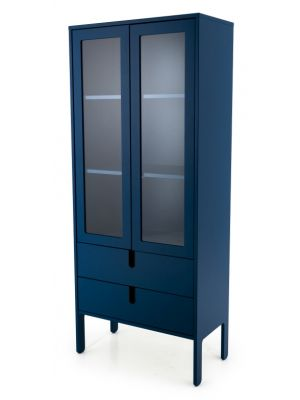 Tenzo UNO Vitrinekast - 2-Deurs - 2-Laden - 76x40x178 - Petrol Blauw
