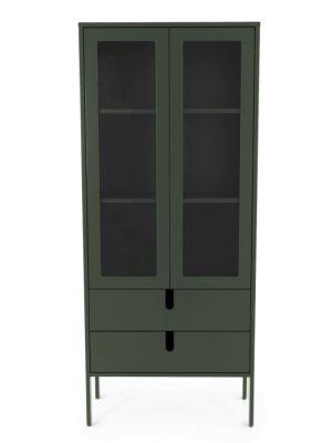 Tenzo UNO Vitrinekast - 2-Deurs - 2-Laden - 76x40x178 - Bosgroen