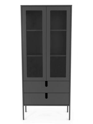Tenzo UNO Vitrinekast - 2-Deurs - 2-Laden - 76x40x178 - Grijs