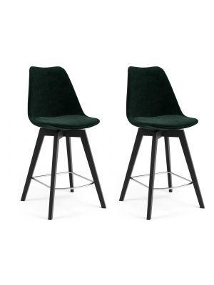 Tenzo Gina Barkruk - Set van 2 - Zithoogte 65 cm - Groen Fluweel - Zwarte Houten Poten