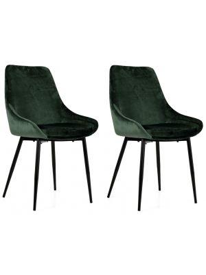 Tenzo Lex Stoel - Set van 2 - Groen Fluweel - Zwarte Metalen Poten