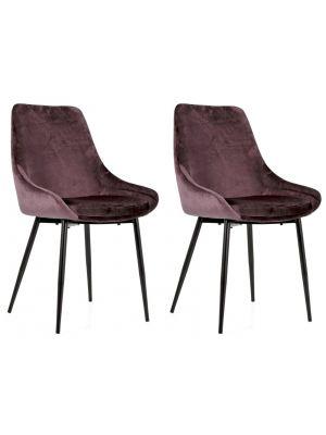 Tenzo Lex Stoel - Set van 2 - Roze Fluweel - Zwarte Metalen Poten