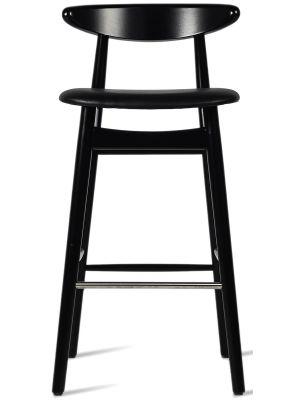 Vincent Sheppard Teo Counter Stool - Houten Barkruk - 68 cm Zithoogte - Beklede Zitting - Zwart Beukenhout