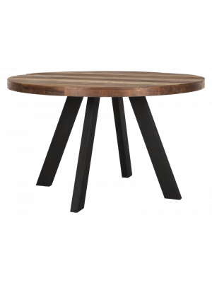 24Designs Beam Timeless Eettafel Rond - Diameter 130 cm - Teakhout Gerecycled