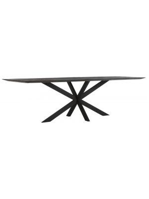 24Designs Curves Black Eettafel L260 x B100 x H78 cm - Gerecycled Teakhout Zwart Gebeitst
