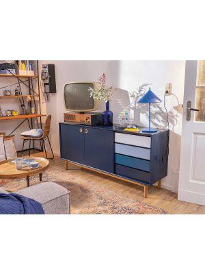 TOM TAILOR by Tenzo Color Box Dressoir 2-Deurs/4-Laden - B170xD44xH80 cm - Blauw