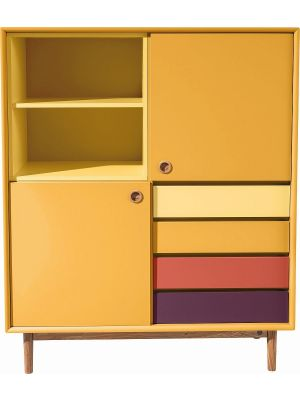 TOM TAILOR by Tenzo Color Box Kast 2-Deurs/4-Laden - B114 x D44 x H137 cm - Mosterd