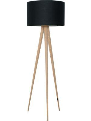 Zuiver Vloerlamp Tripod Hout - H151 cm - Zwarte Lampenkap