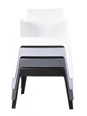 24Designs Box Stoel - Armleuning - Stapelbaar - Set van 8 - Mixbundel