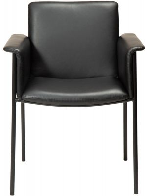 Dan-Form Vale Eetkamerstoel – Set van 2 – Zwart Kunstleer – Zwart Metalen Poten