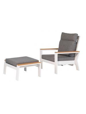 Exotan Valerie 2 x Loungestoel + 2 x Voetenbank - Wit - Grijze Kussens