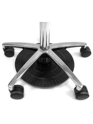 24Designs Tabouret Lage Werkkruk PVC NYLON - Diameter 43 cm - Zithoogte 45 - 61 cm - Zwart Kunststof Onderstel