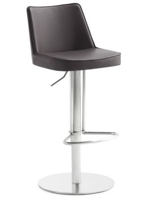 24Designs Verstelbare Barkruk Icon - Bruin Kunstleer - Mat RVS Onderstel