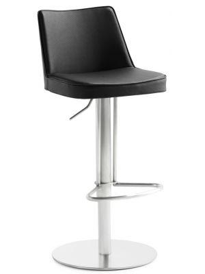 24Designs Verstelbare Barkruk Icon - Zwart Kunstleer - Mat RVS Onderstel