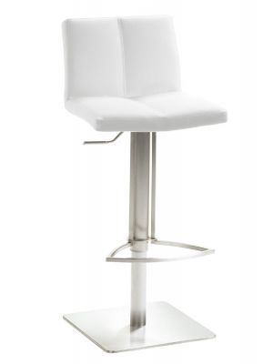 24Designs Ripley Verstelbare Barkruk - Wit Kunstleer - RVS Onderstel