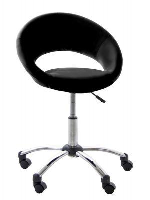 24Designs Speedy Bureaustoel - Zwart Kunstleer - Chromen Kruispoot met Wielen