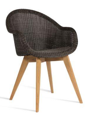 Vincent Sheppard Edgard Dining Chair - Zwart - Wicker Tuinstoel - Teak Onderstel
