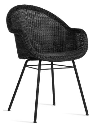 Vincent Sheppard Edgard Dining Chair - Zwart - Wicker Tuinstoel + Zitkussen