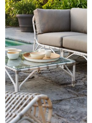 Vincent Sheppard Lucy Modular Wicker Outdoor Salontafel - Wit - Inclusief glazen tafelblad