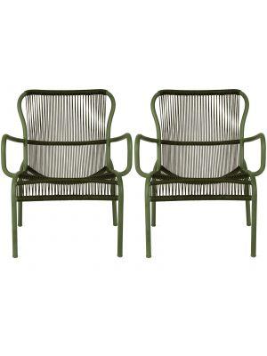 Vincent Sheppard Loop Rope Lounge Chair - Set van 2 - Mosgroen