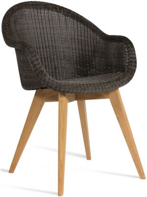 Vincent Sheppard Edgard Dining Chair - Wicker Tuinstoel Grijs/Mocca - Teak Onderstel