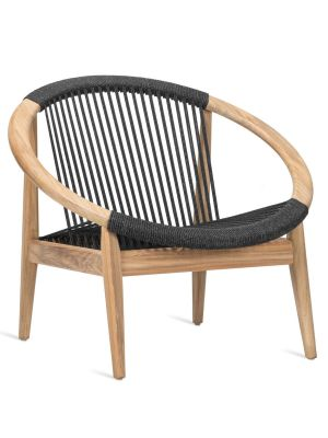 Vincent Sheppard Frida Loungestoel – Outdoor Lounge Chair – Antraciet - Teakhout