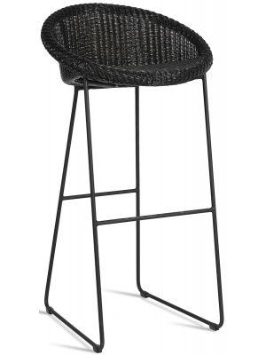 Vincent Sheppard Joe Bar Stool - Lloyd Loom Barkruk - 80 cm Zithoogte - Zwart Sledeframe
