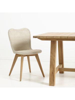 Vincent Sheppard Lena Dining Chair - Tuinstoel - Teak Onderstel - Zitting Wicker - Old Lace/Beige
