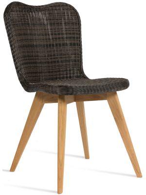 Vincent Sheppard Lena Dining Chair - Tuinstoel - Teak Onderstel - Zitting Wicker - Mocca/Grijs