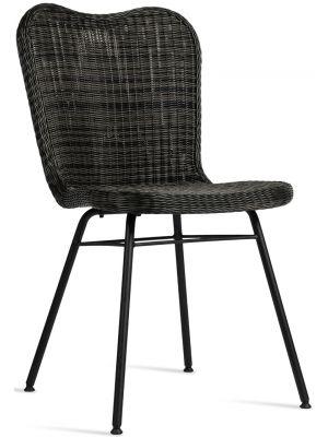 Vincent Sheppard Lena Dining Chair - Tuinstoel - RVS Onderstel - Zitting Wicker - Mocca/Grijs