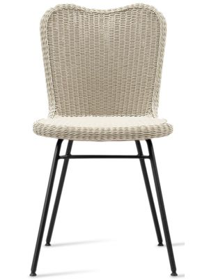 Vincent Sheppard Lena Dining Chair - Tuinstoel - RVS Onderstel - Zitting Wicker - Old Lace/Beige