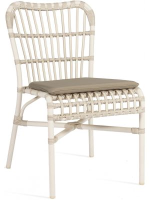 Vincent Sheppard Lucy Dining Chair - Wicker Tuinstoel met zitkussen - Off White